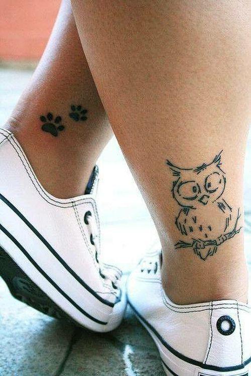 4 - tatouage petit hibou sur la jambe