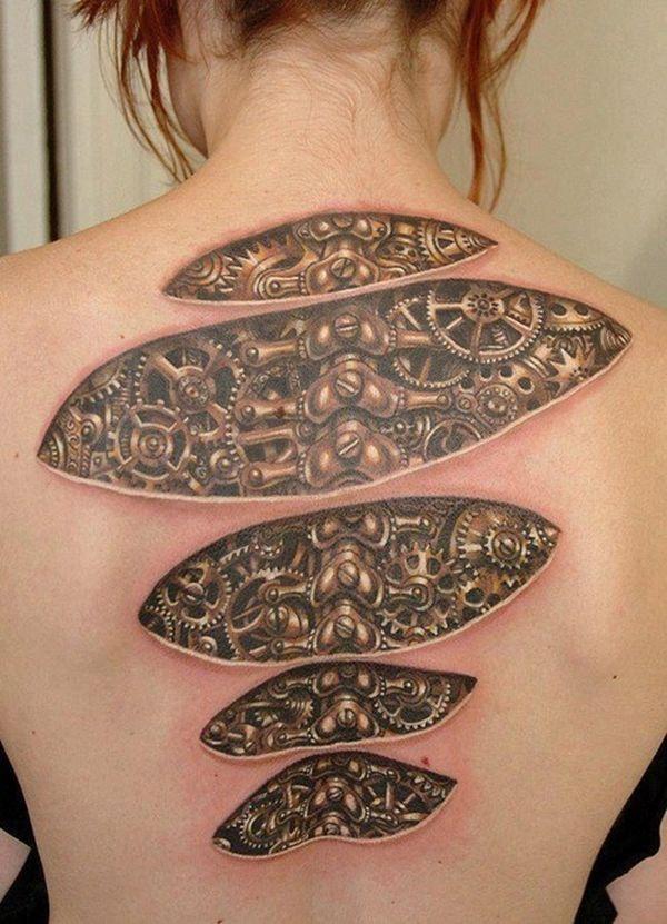 Idées biomécaniques du tatouage du dos