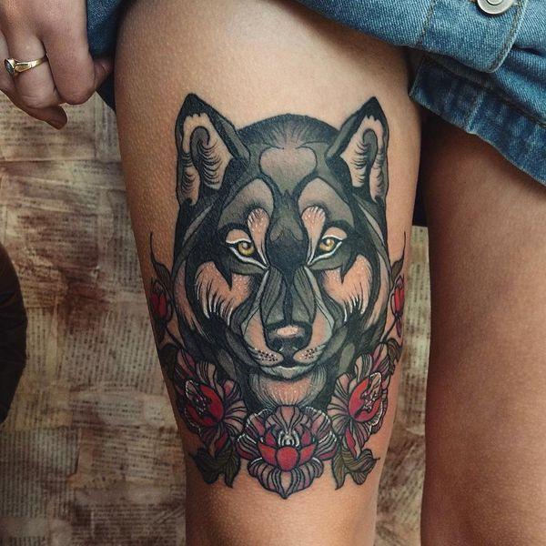 Tatouages de loups traditionnels américains - Dessins et significations