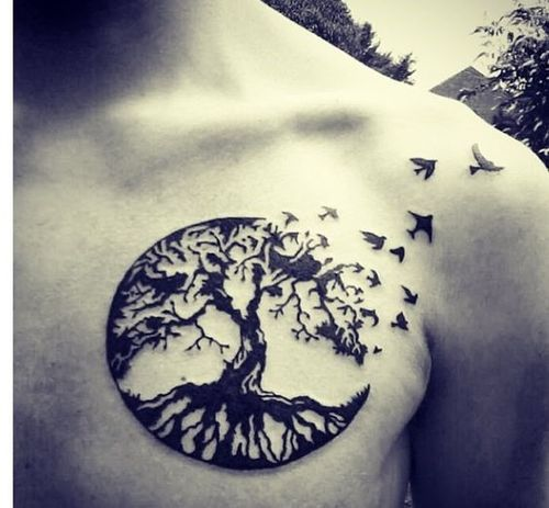 oiseaux volants et tatoo arbre dans la poitrine