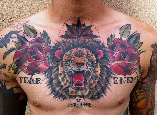 Dessins De Tatouage De Poitrine De Lion Club Tatouage