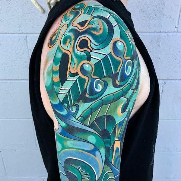 Robot Sleeve Tattoo en bleu et vert