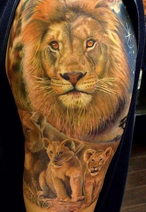 Les conceptions de tatouage de manchon du lion