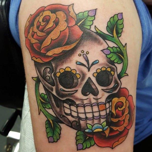 Meilleur 155 Sugar Skull Tattoo Designs Signification