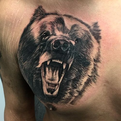 tatouage agressif grizzly