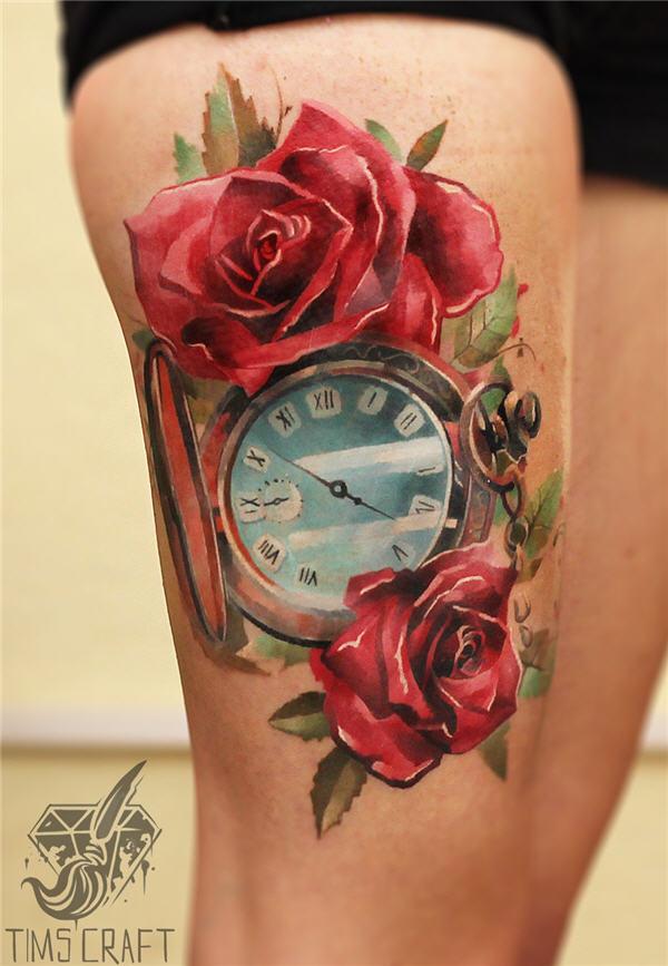horloge n- roses