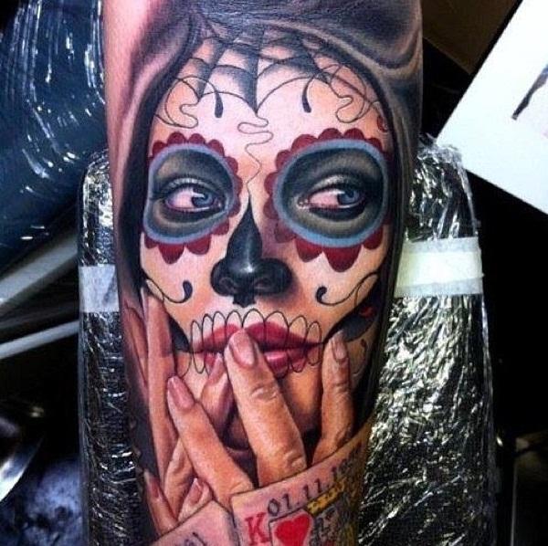 40 Sugar Skull Tattoo Signification et conceps