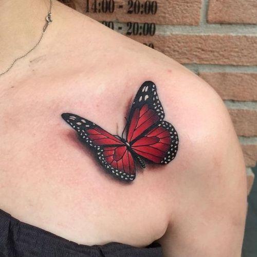 Gaudy Claret 3-D papillon