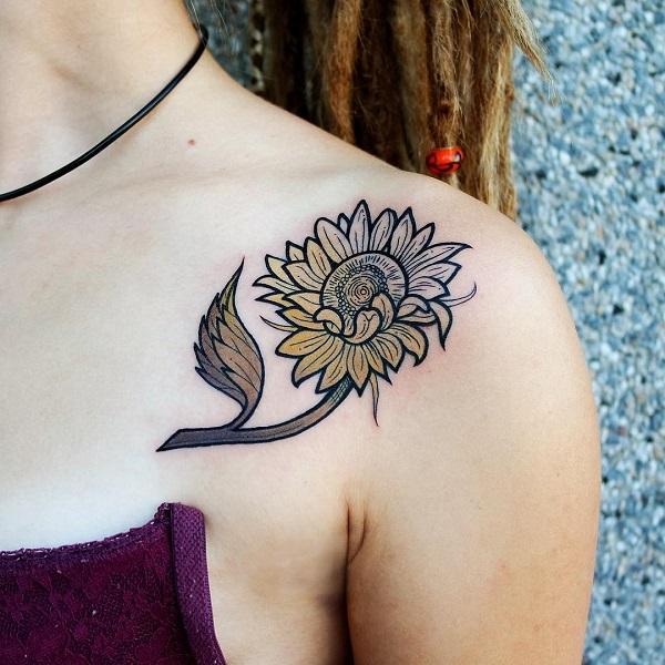 gradient-coloré-tournesol-tatouage-idée